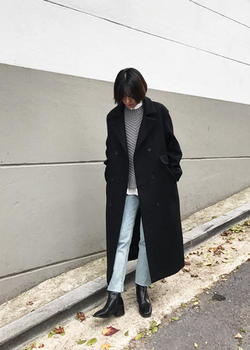 (best)Black Double Button Coat