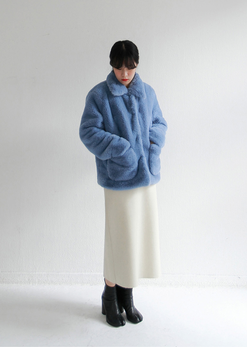 Blue Pocket Faux Fur Jacket