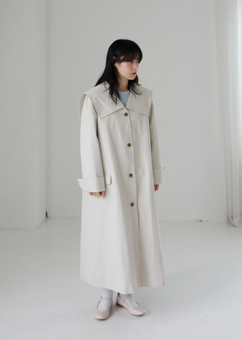 Ivory Sailor Collar Single Coat