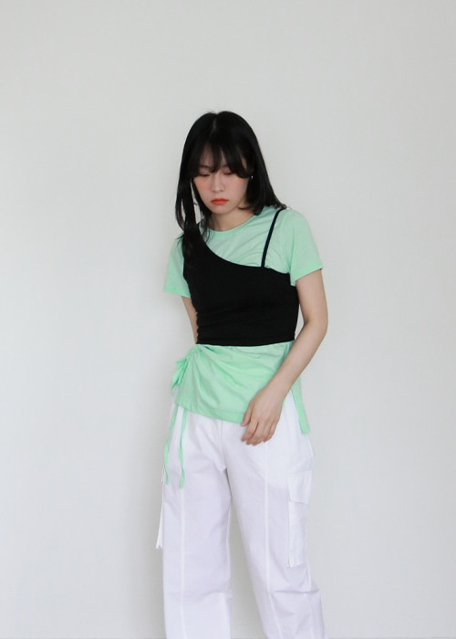 Unbalance Crop Top(2color)