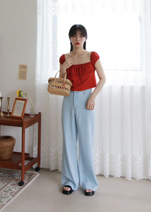 Light Blue Wide Leg Tencel Jeans