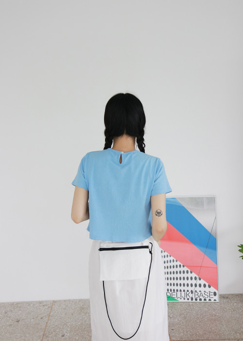 Button Back Crop Tee(5color)