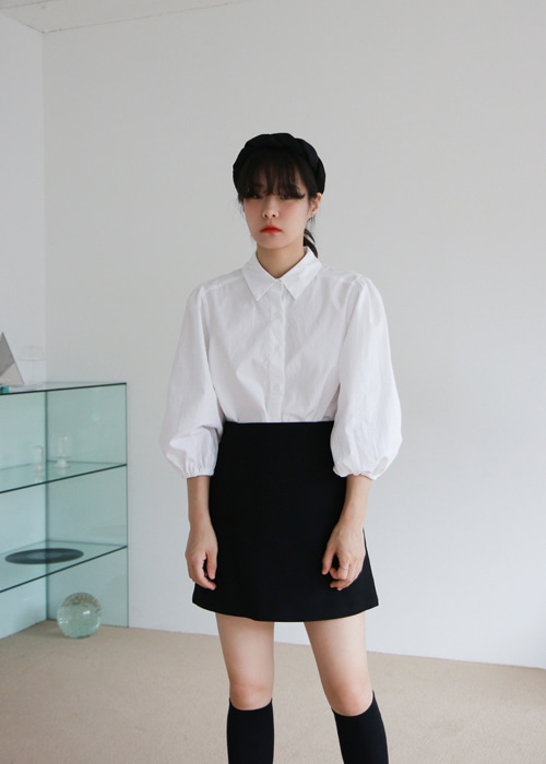 White Half Puff Sleeve Shirt