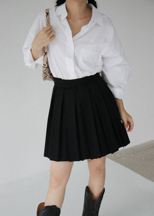 Black Button Wrap Mini Skirt