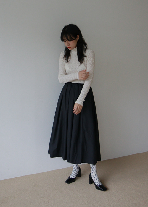Black Pleated Flare Skirt