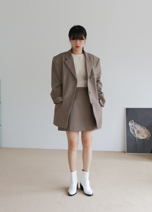 Greige Three Button Oversized Jacket