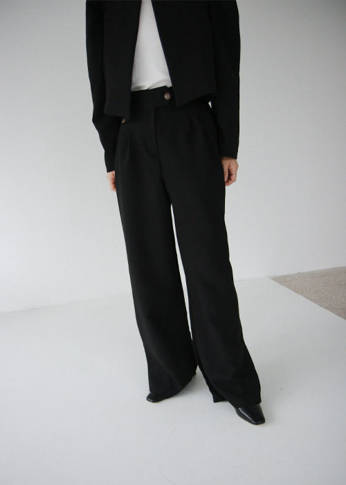 Button Waist Wide Leg Trousers(2color)