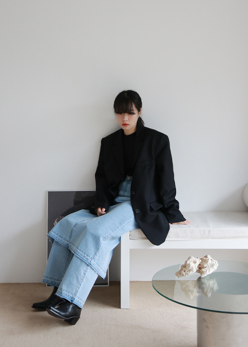 Black Three Button Oversized Jacket