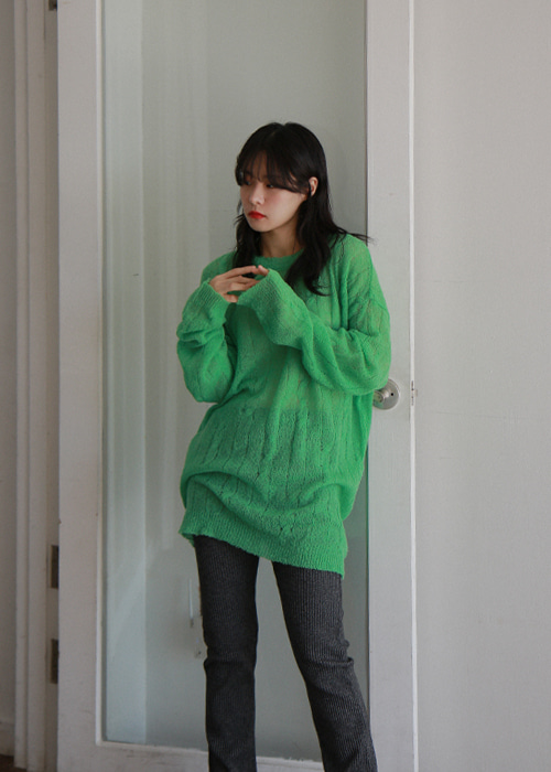 Oversized Sheer Knit Sweater(4color)