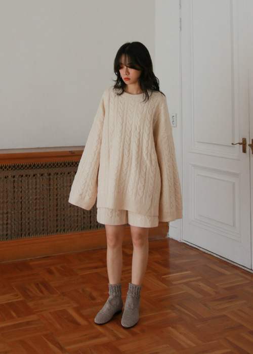 Cable Knit Sweater & Shorts Set(2color)