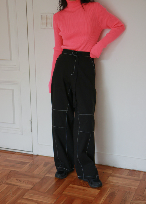 Stitch Wide Leg Pants(2color)