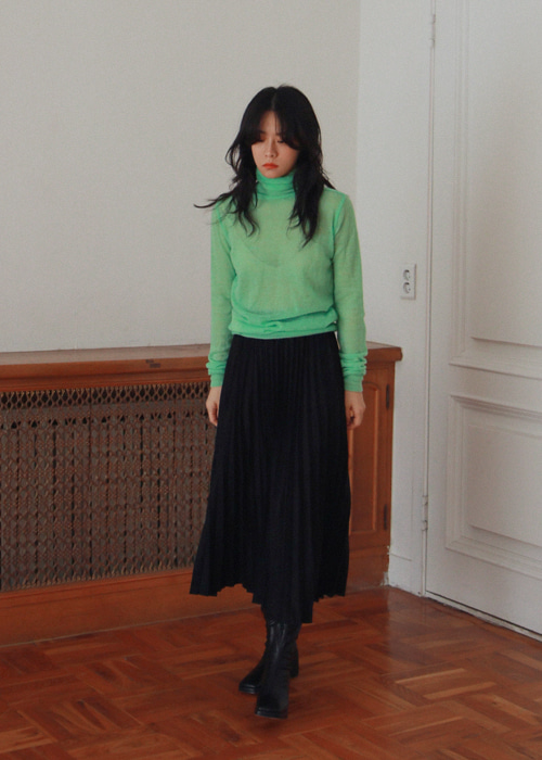 Faux Suede Pleated Skirt(3color)