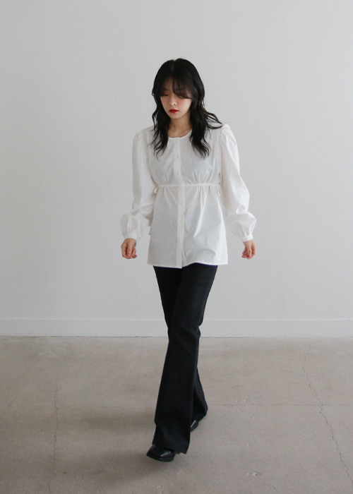 Shirred Waist Puff Sleeve Blouse(3color)