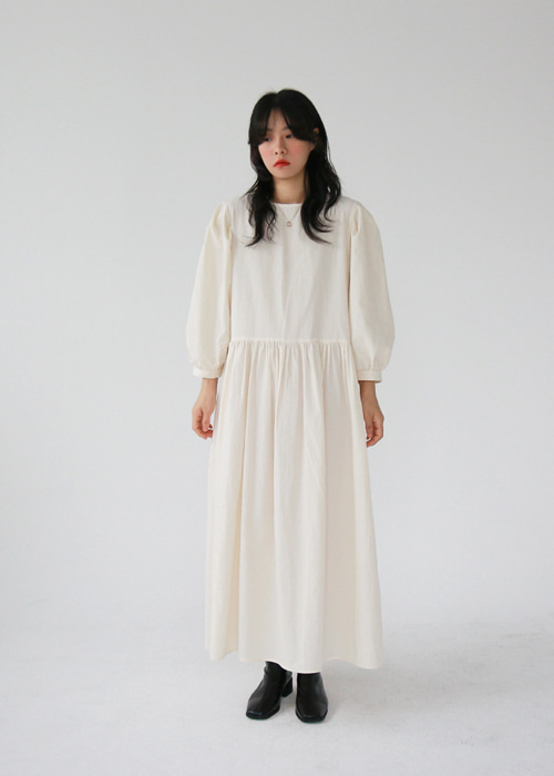 Puff Sleeve Maxi Dress(2color)