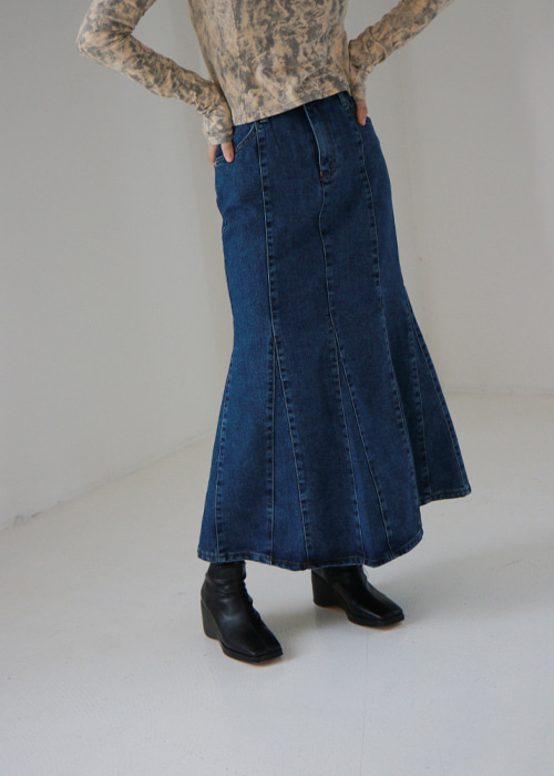 Blue Denim Trumpet Skirt