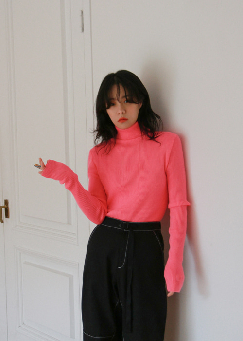 Soft Ribbed Polo Neck Top(3color)