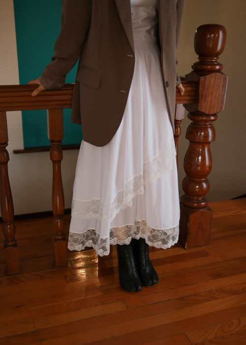 Ivory Lace Trim Maxi Skirt