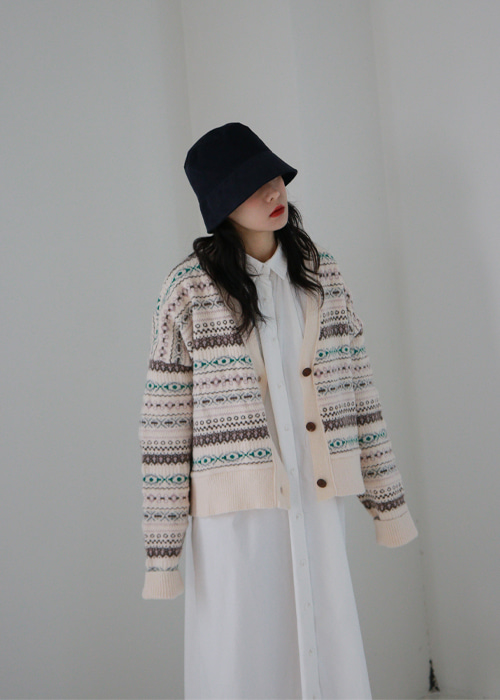 Jacquard Knit Cardigan(2color)