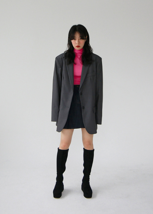 Charcoal Classic Oversized Blazer Jacket(3color)