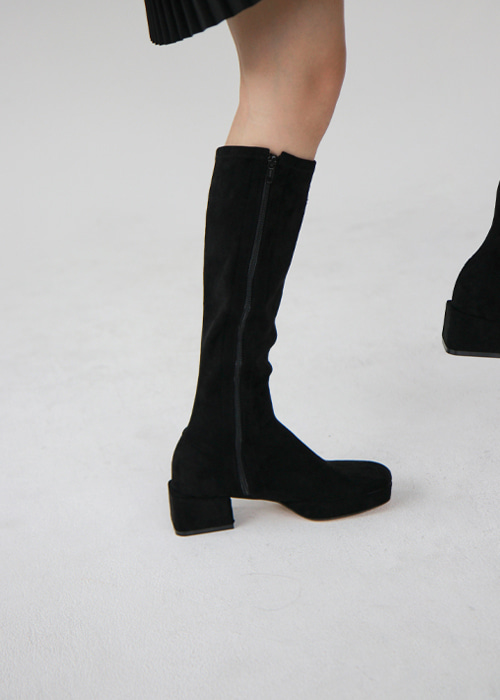 Black Suede Block Heel Knee Boots