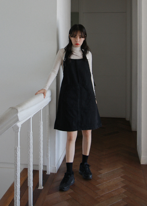 Black Halter Neck Denim Dress