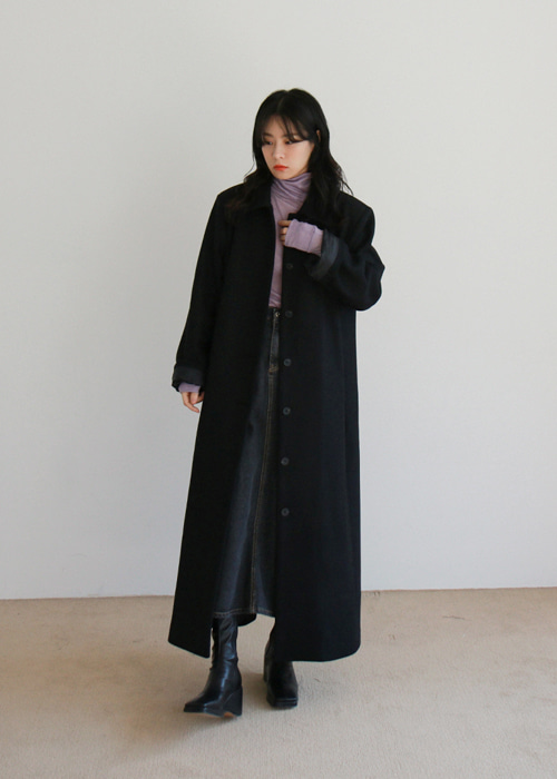 Black Single Maxi Coat