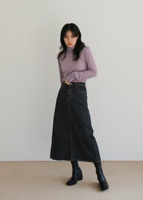Black Button Waist Denim Skirt