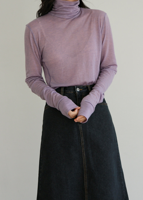 Overlock Stitch Turtleneck Top(4color)