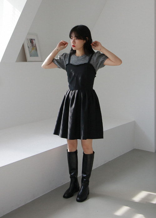 Sleevless Ruffle Mini Dress(2color)