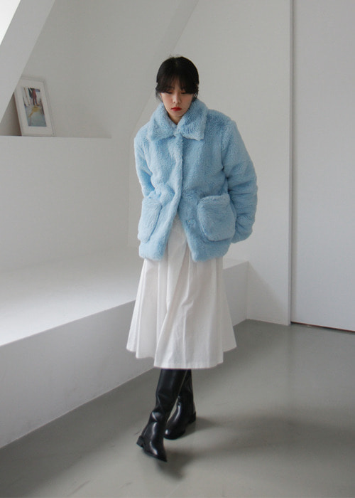 Blue Faux Fur Coat Jacket