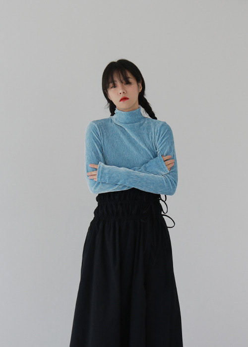 Velvet Turtleneck Top(4color)