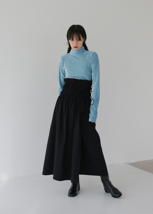 Shirred Smock Wrap Skirt(2color)