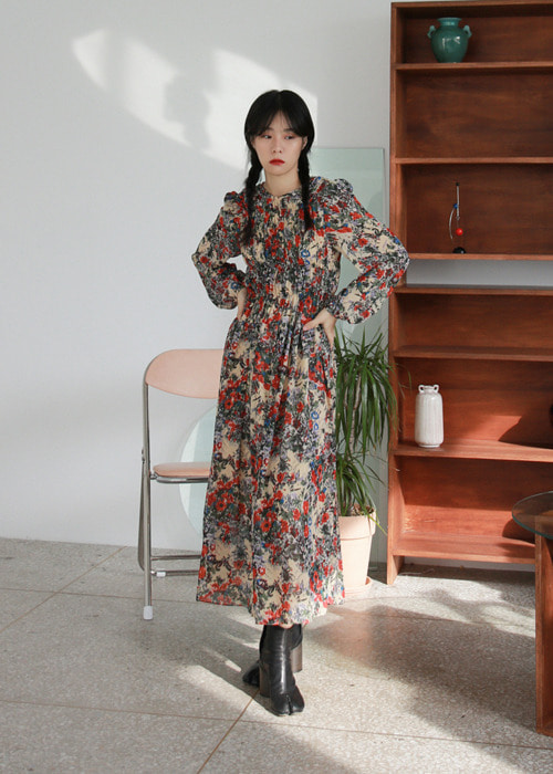 Puff Sleeve Shirred Floral Dress(2color)