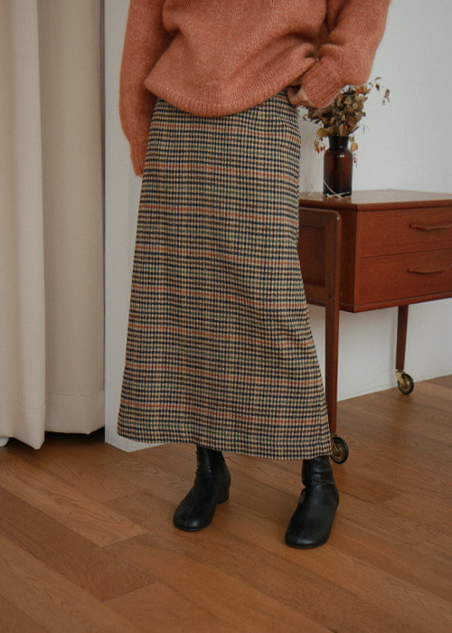 Wool Blend Plaid Midi Skirt(2color)