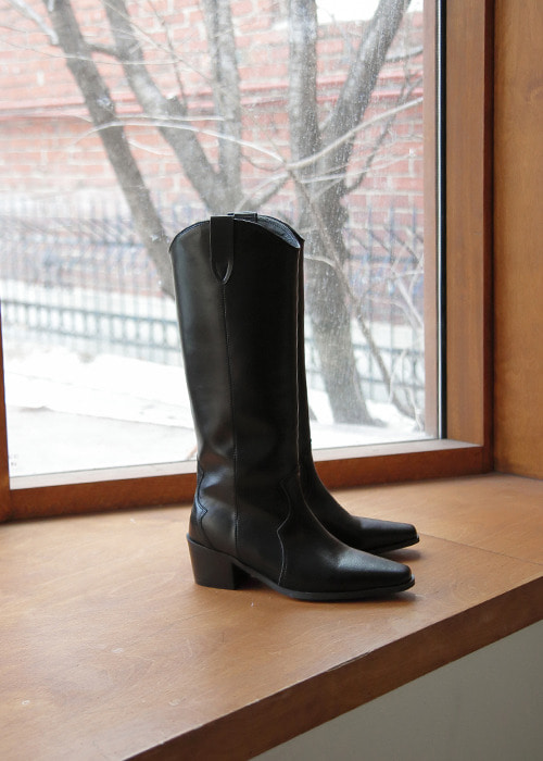 Black High Western Boots