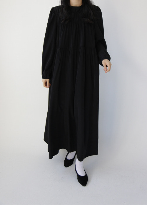 Front Shirred Long Sleeve Dress(2color)