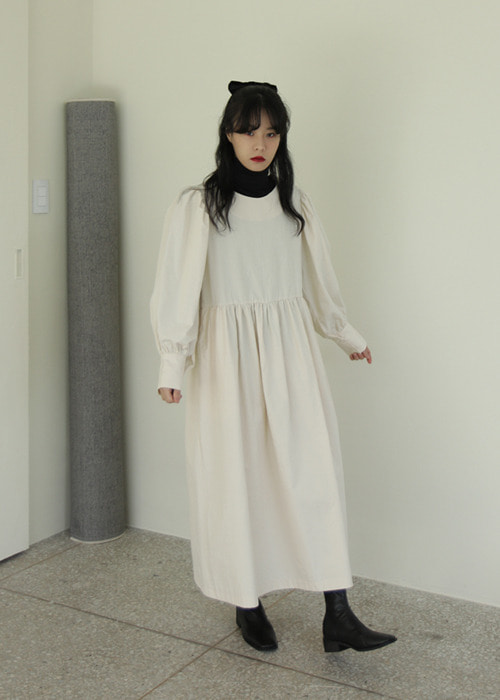 Button Back Puff Sleeve Dress(2color)