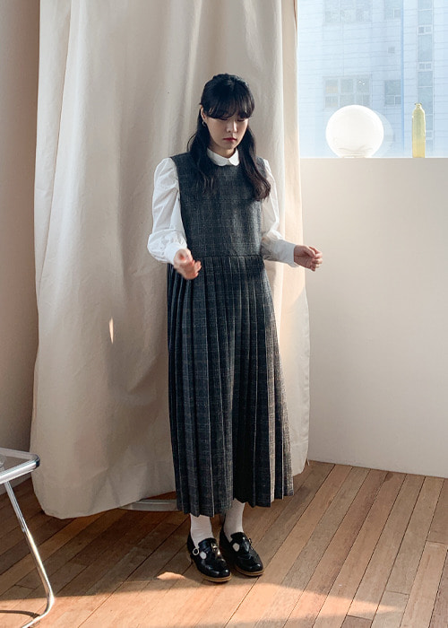 Wool Plaid Pleated Dress(2color)
