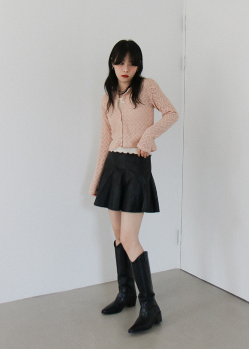 Round Neck Lace Pattern Cardigan(3color)
