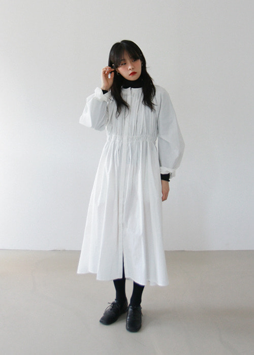 Waistband Pleated Cotton Dress(2color)