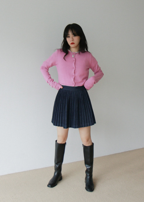 Blue Pleated Denim Mini Skirt