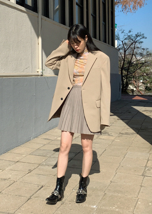 Beige Mannish Two Button Jacket