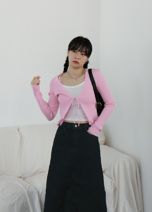 Ribbon Ribbed Cardigan(4color)
