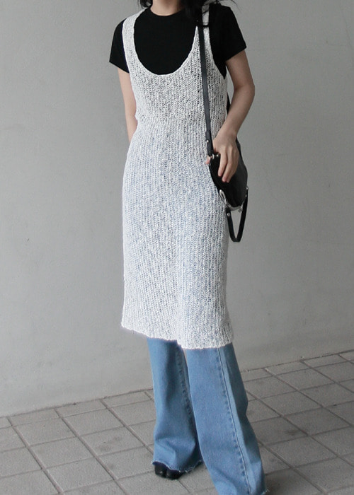 Sleeveless Sheer Knit Dress(2color)