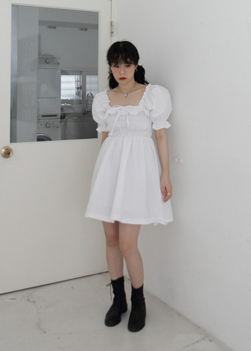 Puff Sleeve Ruffle Trim Shirred Dress