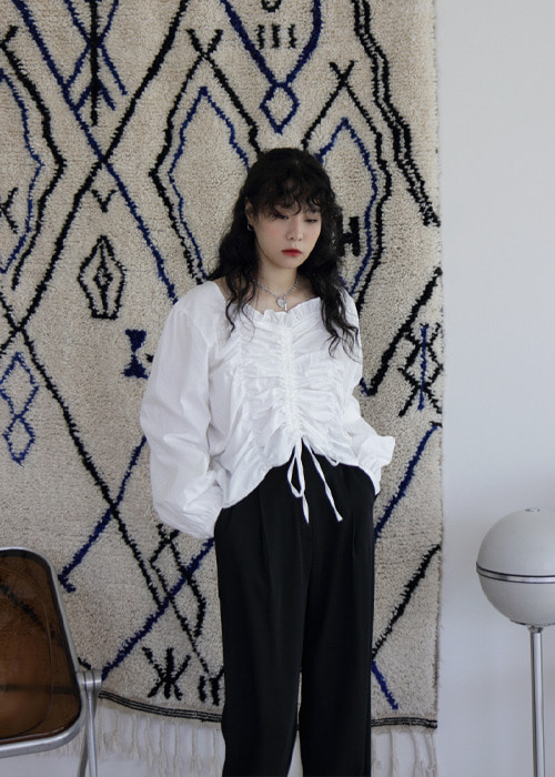 Ivory Band Shirred Tie Up Blouse