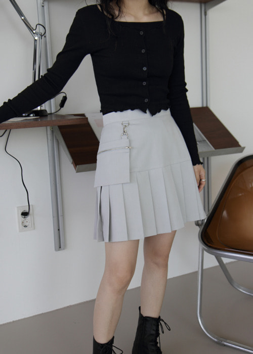 Pouch Pleated Mini Skirt(2color)