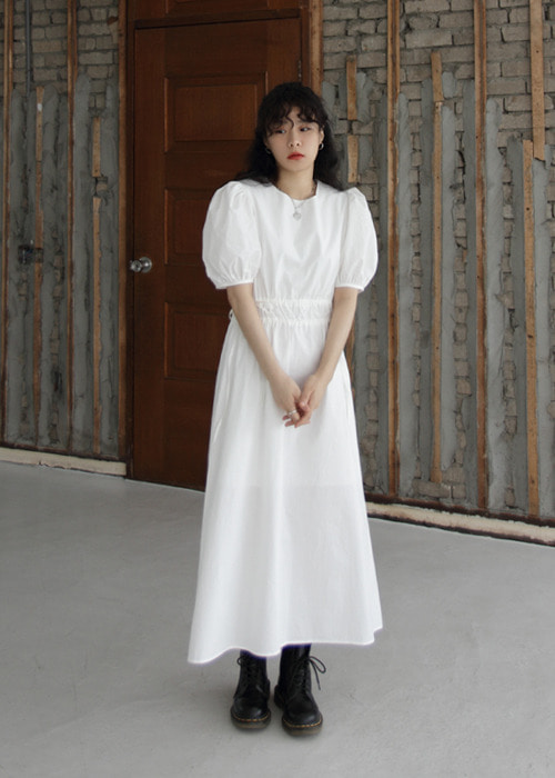 Double String Puff Sleeve Dress(2color)