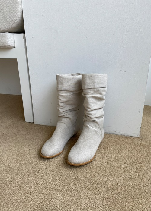Linen Shirred Boots(2color)