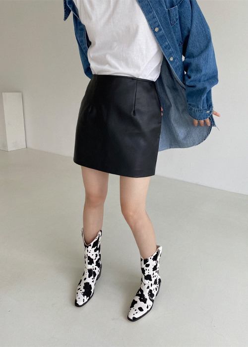 Faux Leather Mini Skirt(2color)